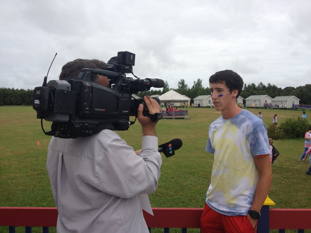 Eric MacInnis interviewed by CTV News. Eric has been coming to camp for 10 years. He has been a camper, jr counsellor, and is now our waterfront coordinator