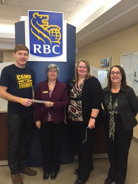 Matthew Sheriko was on hand in December to accept a cheque from branch manager Annette LeBlanc