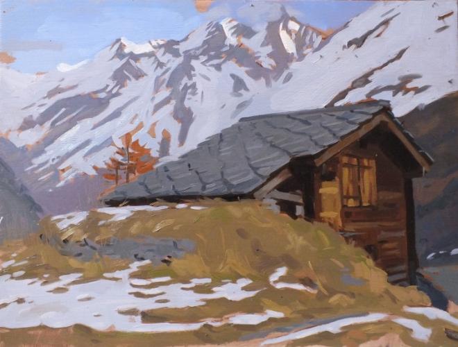 Single hut, Zermatt. 30x40cm