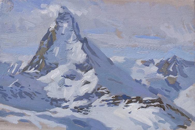 Matterhorn on a grey day. 20x30cm