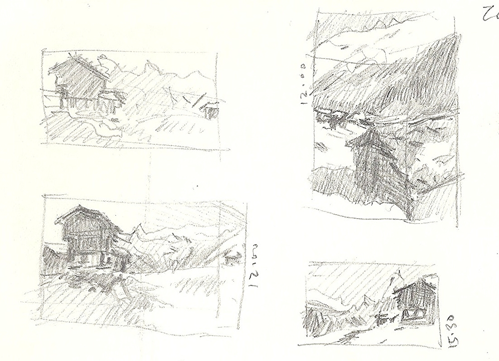 Thumbnail sketches, with time notes.