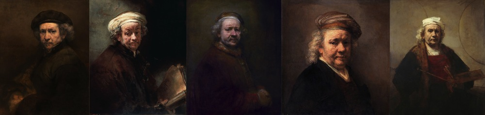 Self-portraits 1659, 1661, 1669, 1669, 1665-1669. Exhibited in this chronological order.  When viewed all in line, what becomes obvious is the recurring set of colour motifs: White, yellow (gold), red, black. Probably strongly influenced by the limited palette available at the time. They are all lit from the left, sitter facing right, except the first one in the series.