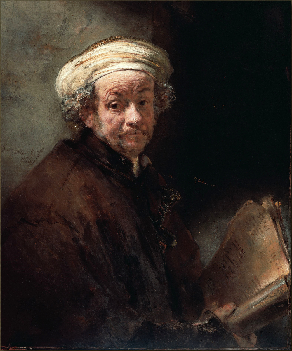 #2. As the Apostle Paul, 1661. Shadows on face are luminous, full of ochre, suggesting ambient reverberating light, perhaps from parchment in hand. Darkest accents are firstly the eyes, then eyebrows & nostrils. The shaft of light (from top left to bottom right) is enabled by passing through the white turban, unlike the previous painting, where the black cap interrupts it. In reproductions such as this one, it's obvious, but in the darkness of the museums, I had never noticed the dagger poking out of the jacket before.