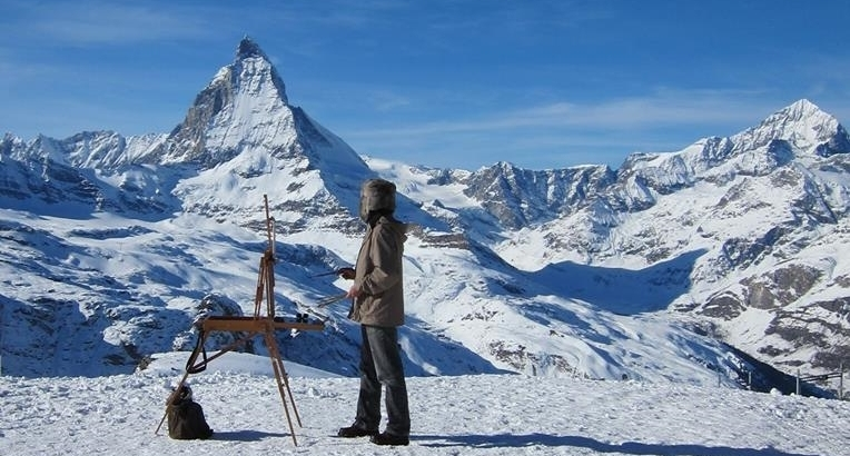 Swiss Alps. - Plein air painting.