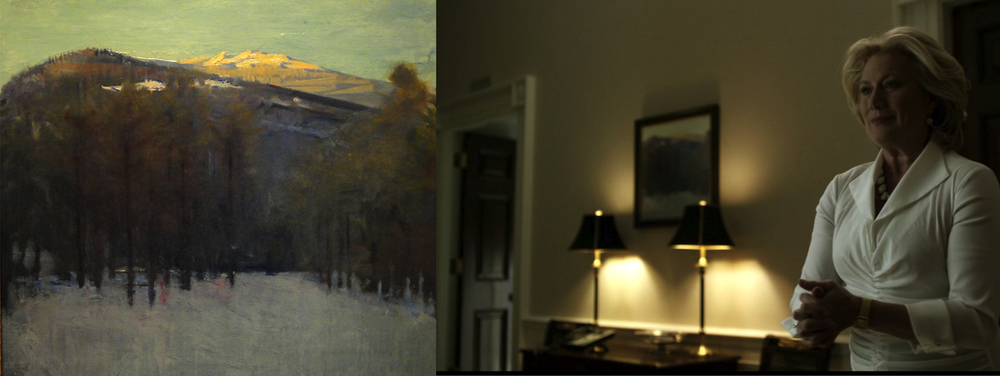 """Frame on right: In background we see hanging ngingThayer's painting of """"Mount Monadnock""""."""