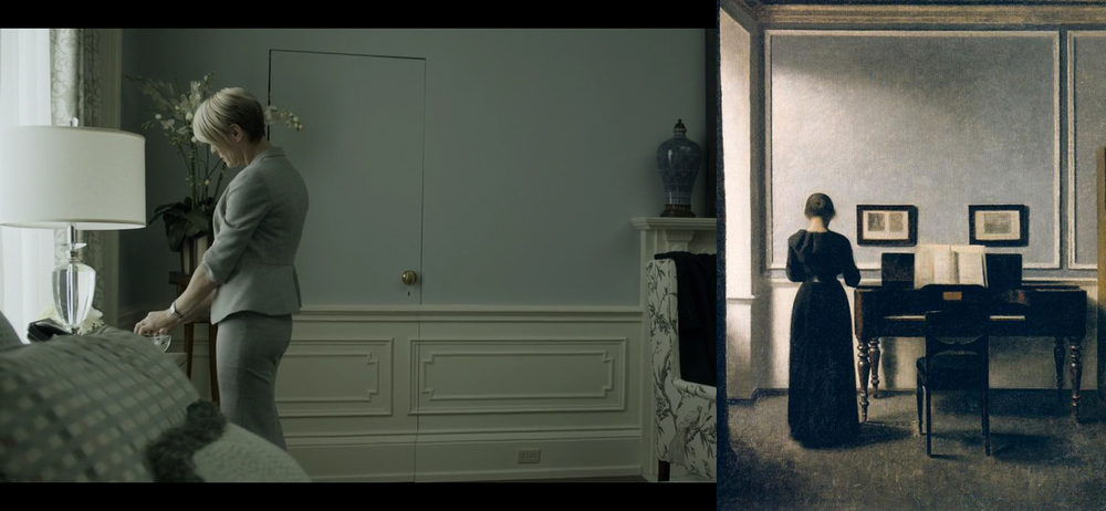 From left: scene from 'House of Cards', painting by Vilhelm Hammershoi (Interior With Piano and Woman in Black).