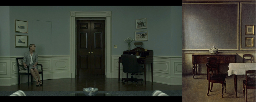 From left: Scene from 'House of Cards', painting by Vilhelm Hammershoi (interior).