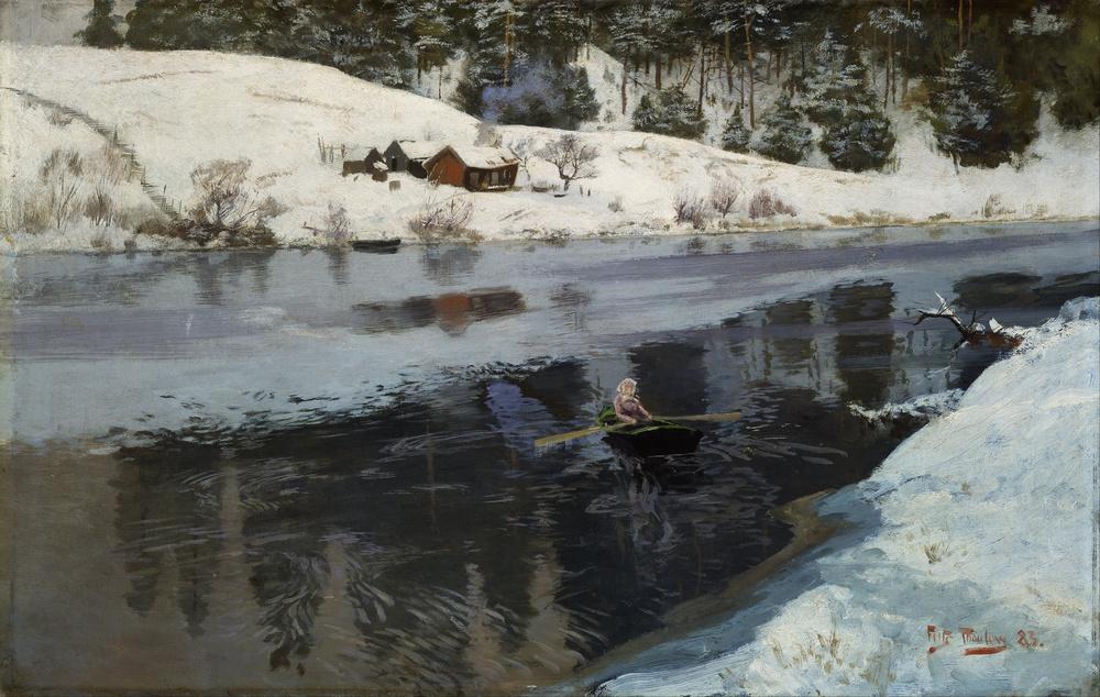 Frits Thaulow. winter at the river.jpg