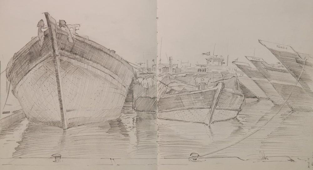 Pencil sketch of Barges in Dubai.