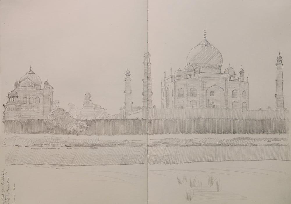 Taj Mahal pencil sketch, from Mehtab Bahg.
