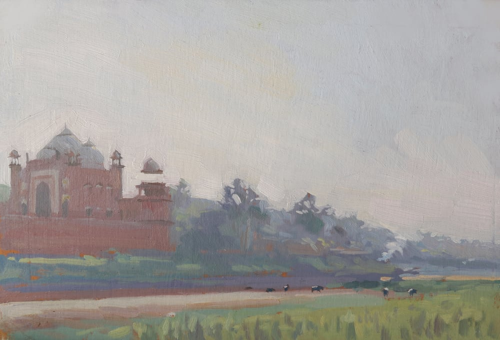 Mosque next to the Taj Mahal, from Mehtab Bahg.