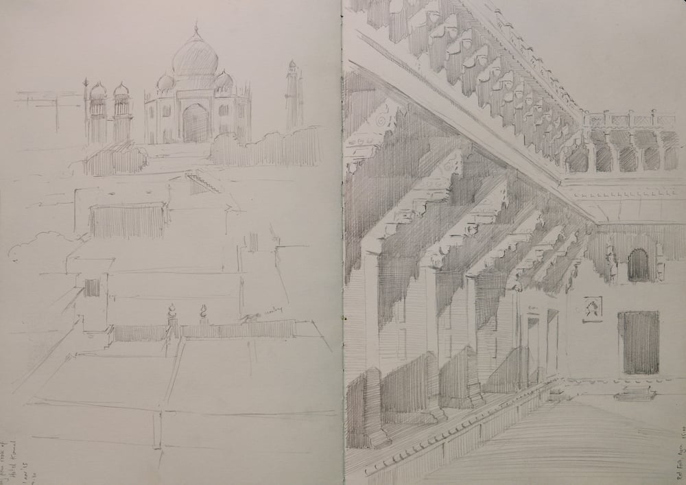 Pencil sketches. Left: Rooftop view of Taj Mahal. Right: Red Fort.