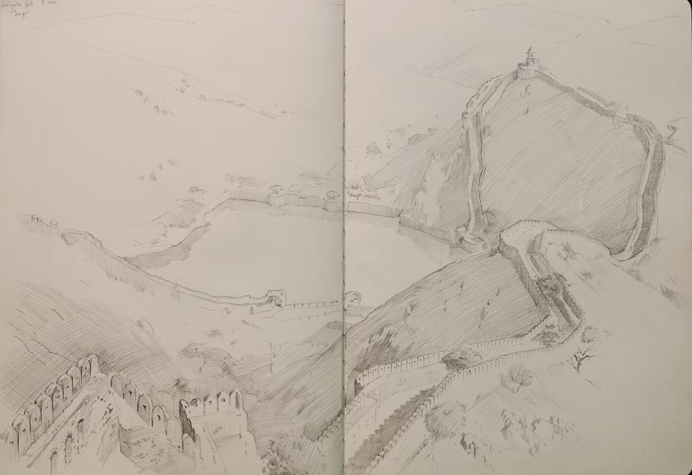 Pencil sketch. View from Jaigargh Fort.