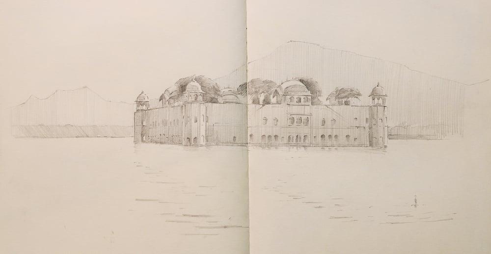 Pencil sketch of Jahl Mahal Palace.