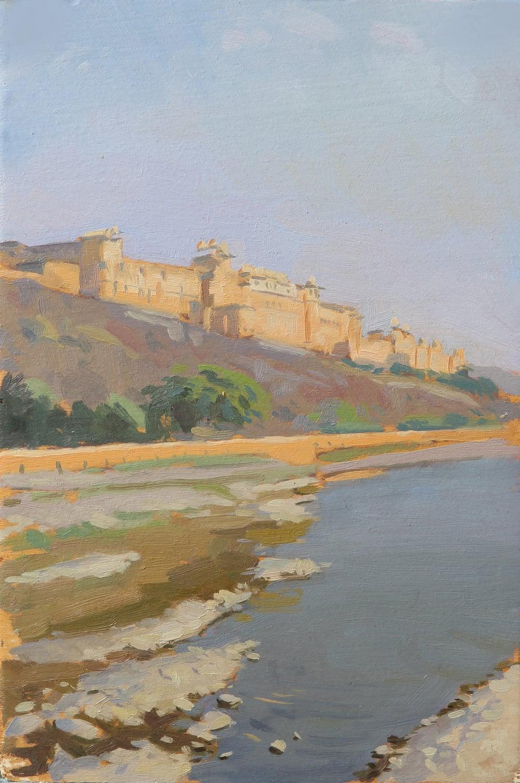 Amber fort, morning, jaipur. Oil on board, 20x30cmjpg