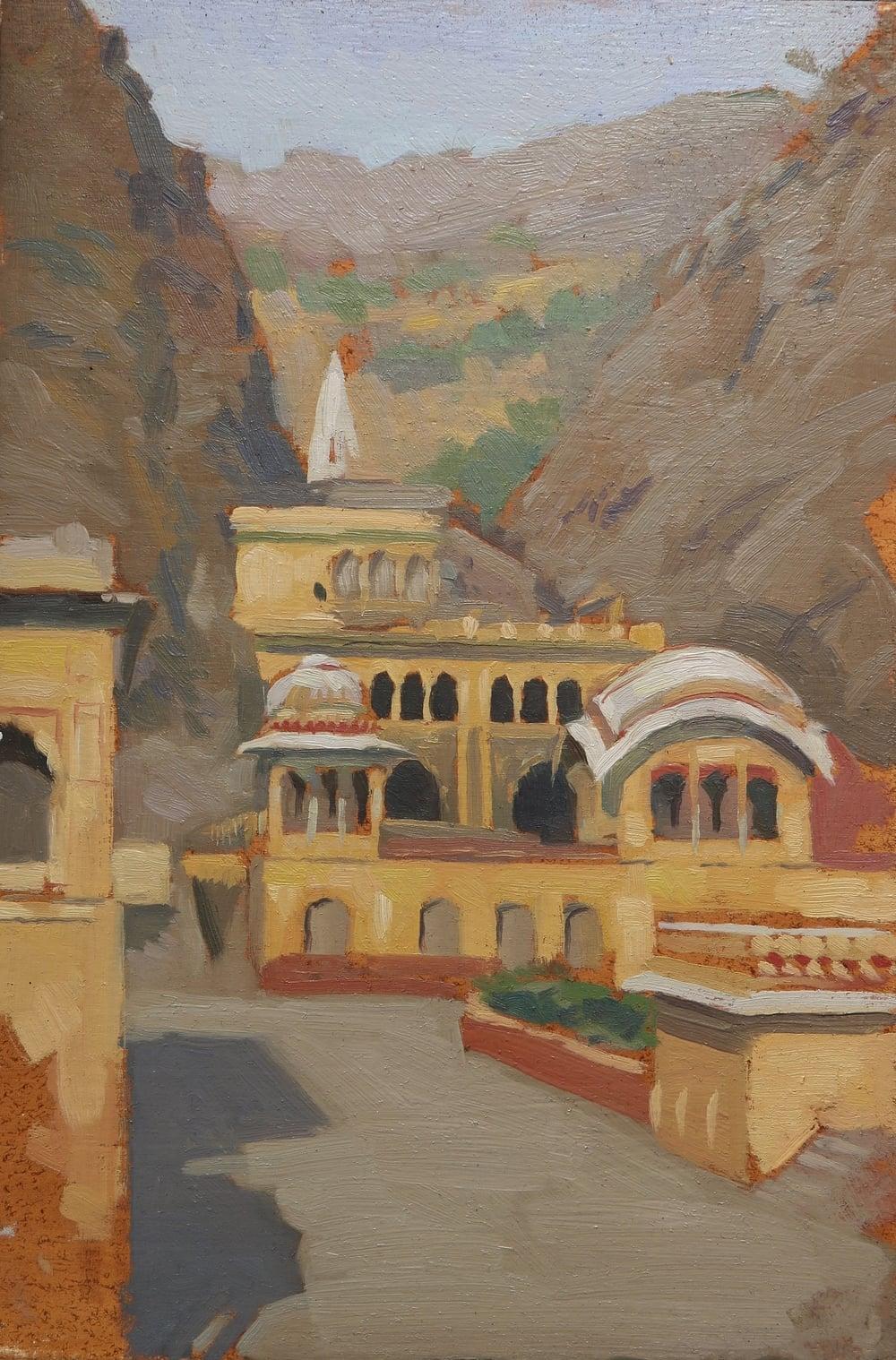 monkey temple, jaipur, 20x30cm, oil on board.jpg