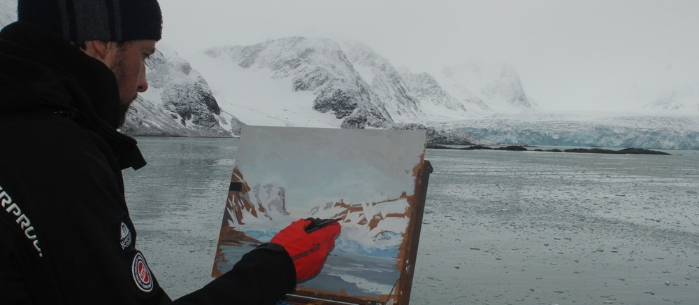 Glacier painting in the Arctic.
