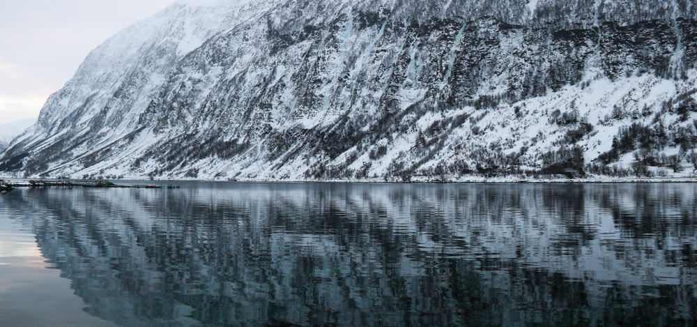 The frozen waterfalls of the Lyngenalps.