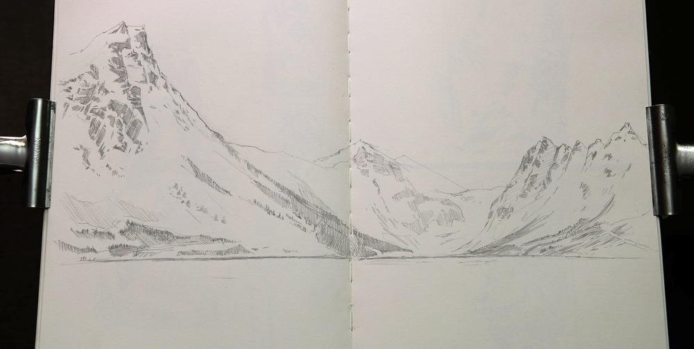 Gryllefjord. Pencil sketch.