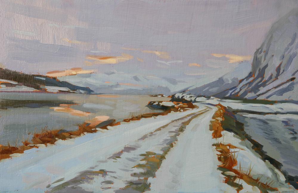 Road on Lyngen Fjord . oil on board. 20x30cm
