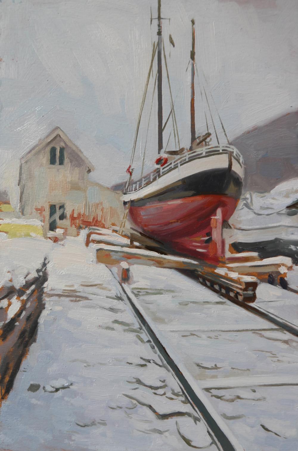 Lyngseidet  Boat yard . oil on board. 20x30cm