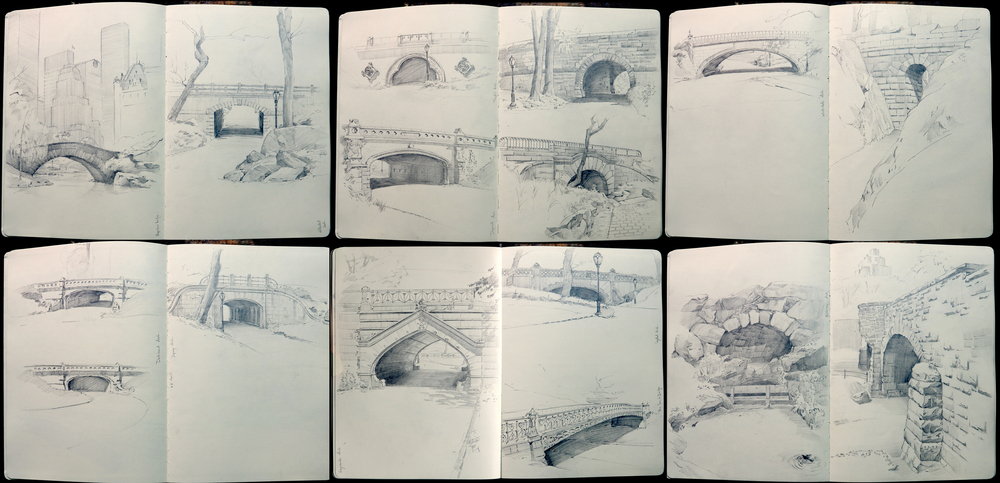 A selection of pencil drawings of bridges in Central Park.