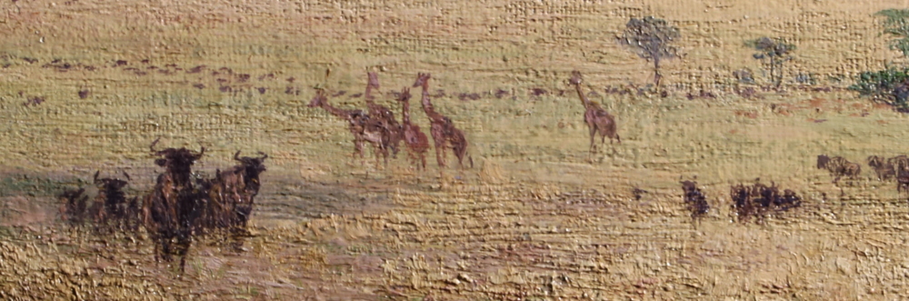 Detail of Serengeti plains: Wilderbeasts, Giraffes