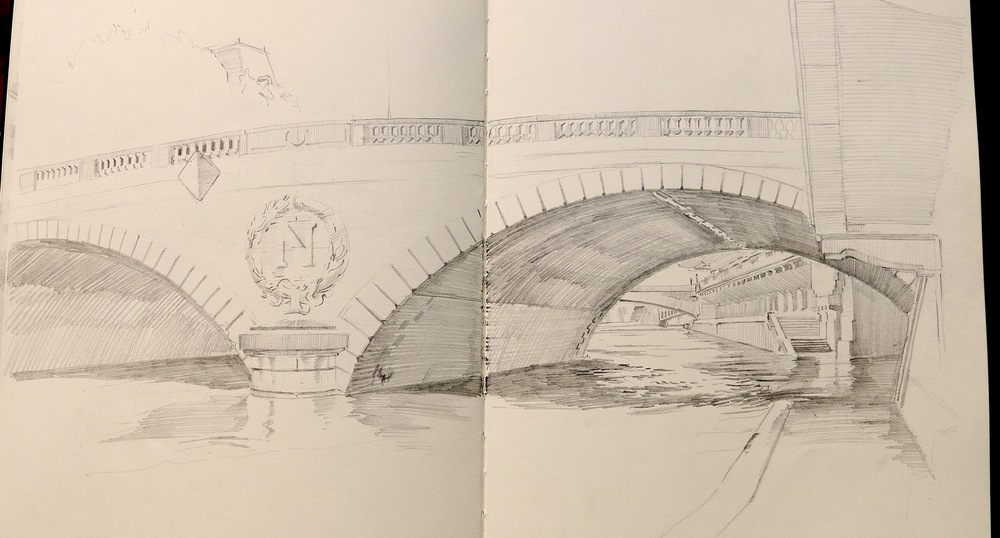"""Pont au Change"", with the imperial ""N"" of Napoleon."