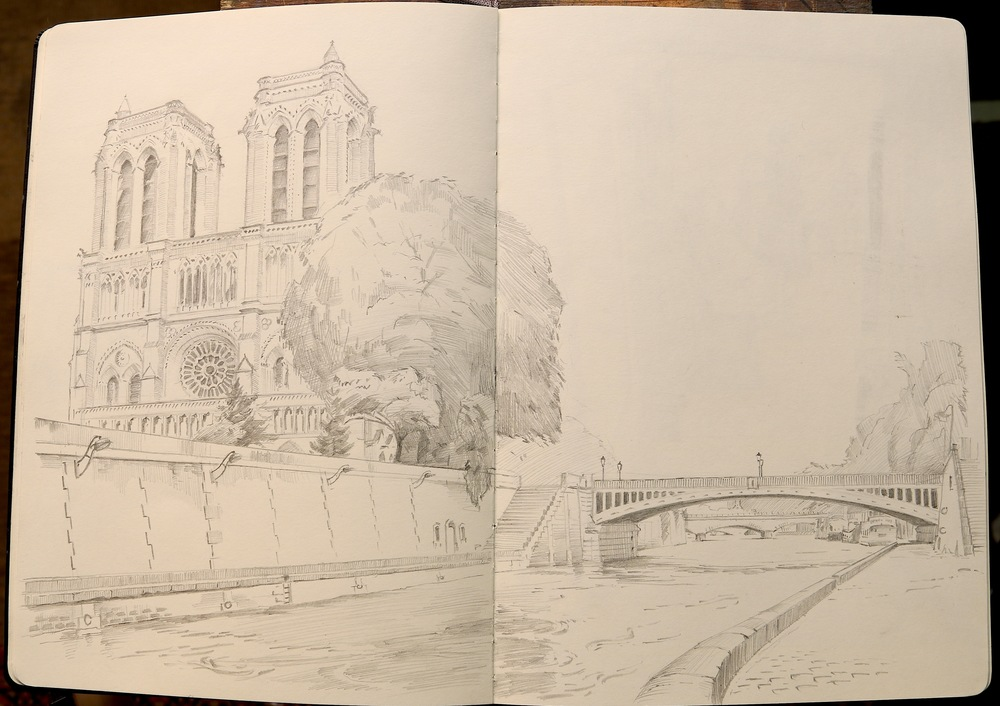 Pont au double, with Notre-Dame Cathedral to the left.