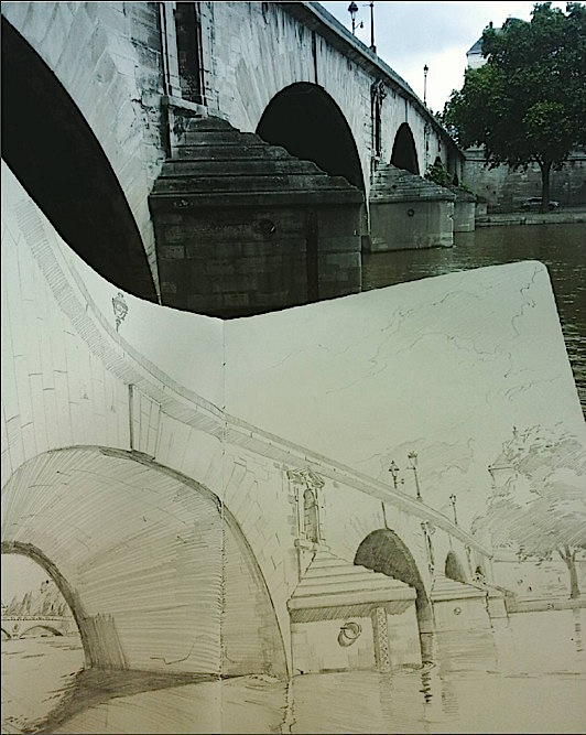 """Pont Royal"" with sketchbook"