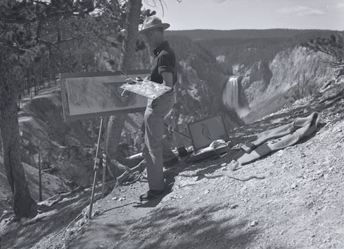 James Perry Wilson painting in Yellowstone canyon.