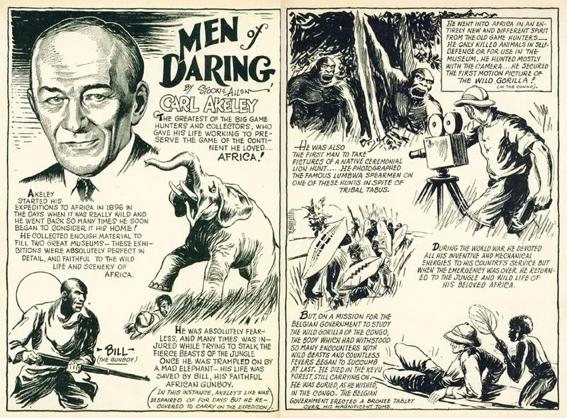 Men of daring, comic book adventures of Carl Akeley.