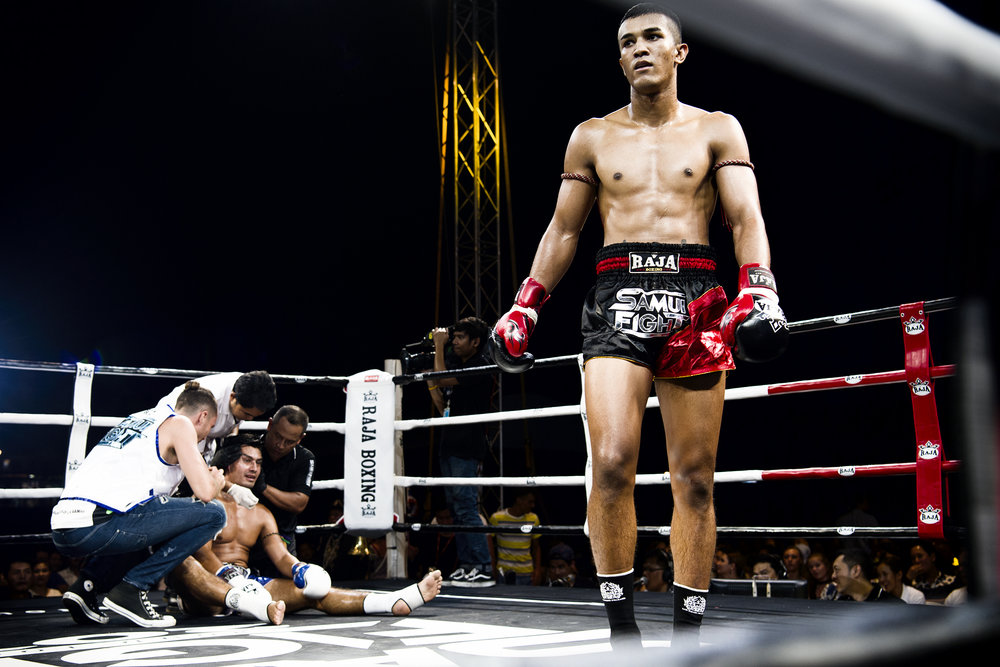 The Koh Samui Fight Festival was arranged over four nights in September 2017 at The Warf, Fishermans Village. It was organized to celebrate the 120th anniversary of Koh Samui. The first night was a 'Thai Fight' promotion pitching Faring vs Thai fighters in 3 round intense all out bouts, followed by a Female Fight Night, featuring Thailand's top fighters. The following two nights were organized by the Rajadamnern and Lumpini stadiums respectively, these fights were the traditional five round bouts. All four promotions were televised live on National TV.