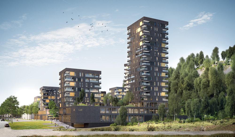 QUARTIER NOUVEAU DES HIERCHEUSES À MARCINELLE   Propriété / investissement: Vandezande Architecture et urbanisme: Syntaxe et BUUR.  Image: Asymétrie.  Le projet porte sur un périmètre de base d'environ 19,5 ha, propriété de la société Vandezande. Il est situé entre l'A503 et l'avenue Eugène Mascaux, le long de la rue des Hiercheuses, à proximité directe du centre de Charleroi (10 minutes à pied), de la gare et des accès autoroutiers. Le projet des Hiercheuses à Marcinelle, labellisé Quartiers Nouveaux par la Wallonie ambitionne de vivre avec le terril qui lui est contigu tout en respectant son intégrité environnementale et en l'intégrant, au quotidien, dans la structure du quartier. Principalement affecté au logement, dans une densité brute de 60 hab/ha et des gabarits urbains offrant une mixité résidentielle, sociale et intergénérationnelle, le projet adopte résolument une composition urbaine directement liée à la présence du terril. Celui-ci est envisagé comme une ressource paysagère, énergétique (co-génération à partir de sa masse) et environnementale pour le quartier. Le projet propose donc de prolonger le terril en ville et d'offrir un nouveau parc urbain à Charleroi.