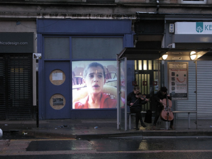Photo courtesy of Picture Window. 'Translation' by Eileen Daily a video projection and live performance.