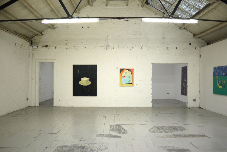 Left to right: Florrie James, Untitled, oil on canvas, 2015. Ross Little, Theatre of Dreams, oil on canvas, 2015. On the floor: Tom Marshallsay, Untitled Floor Piece, 2015.