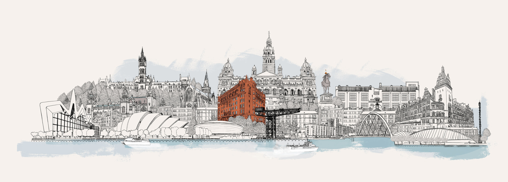 Client: Digitonic.Bespoke Glasgow city skyline for the wall of Digitonic's office, with their red brick building in the middle.