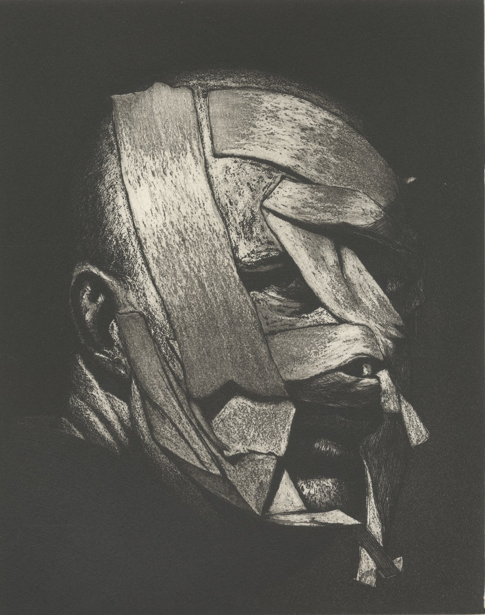 Ken Currie, Transformers, etching, 2015, © Ken Currie. Image courtesy Flowers London and New York. Published by Glasgow Print Studio