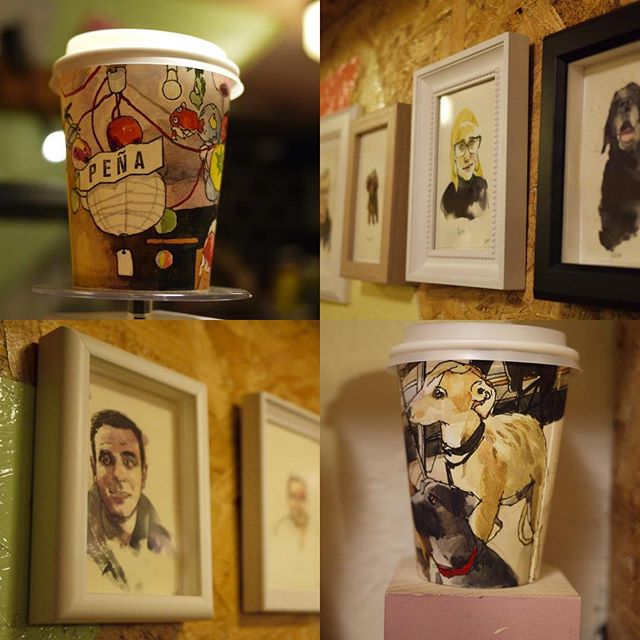 Our favourite Toastie den, @penaglasgow hosts a selection of watercolour portraits and coffee cups from artist @wilfreeborn. From dugs' to nearby glasgow uni students, Pena's regulars were asked to pose for their portraits in late Autumn. #glasgowcityarts #illustration #design #glasgow #glasgowartist #watercolours #portraits #dogs #coffeecups #exhibition