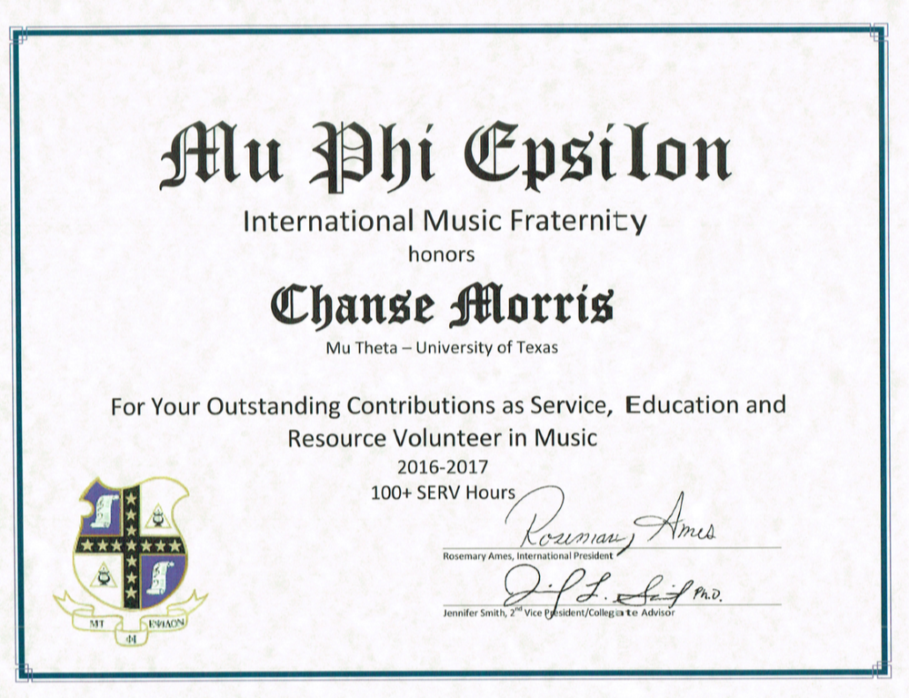 Chanse Morris - Outstanding SERV Award at the Mu Phi Epsilon International Convention 2017. Served 100+ hours over the 2016-2017 school year.