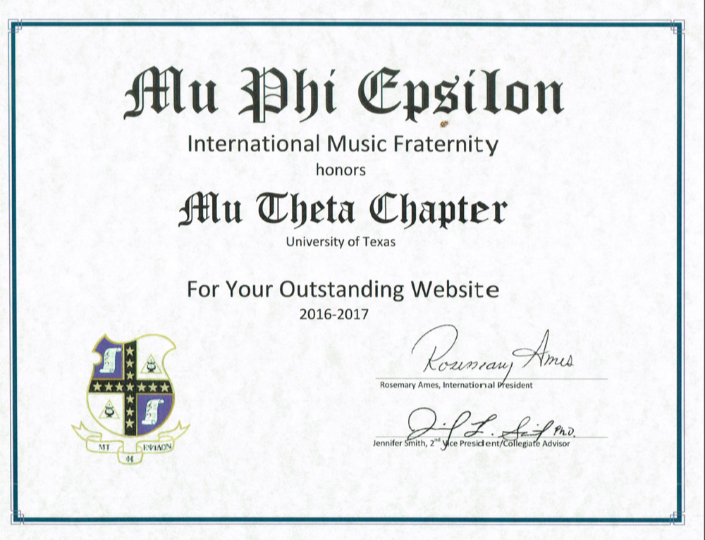 Outstanding Website - Mu Phi Epsilon International Convention 2017