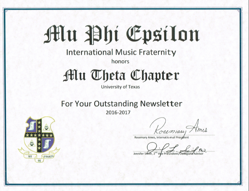 Outstanding Newsletter - Mu Phi Epsilon International Convention 2017