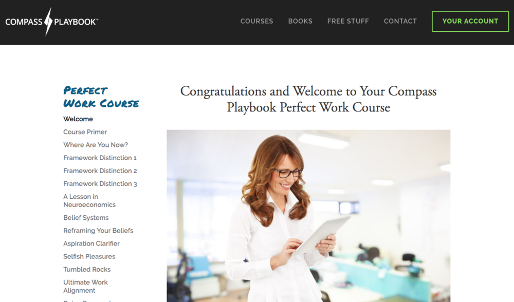 Perfect Work Course welcome page