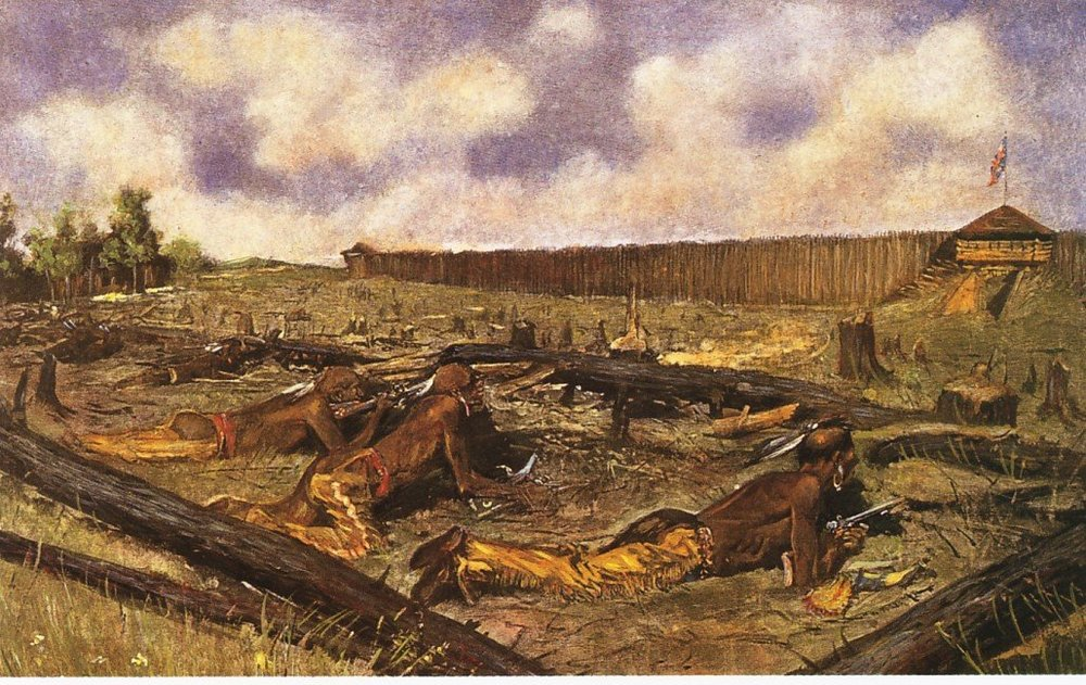 The Siege of the Fort at Detroit  by Frederic Remington