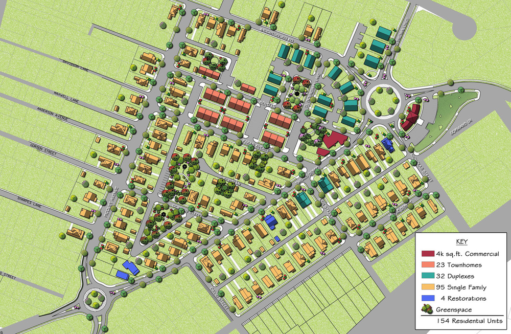 Plans call for a total of 154 townhomes, duplexes, single family homes, and historic home restorations. Download site plan.