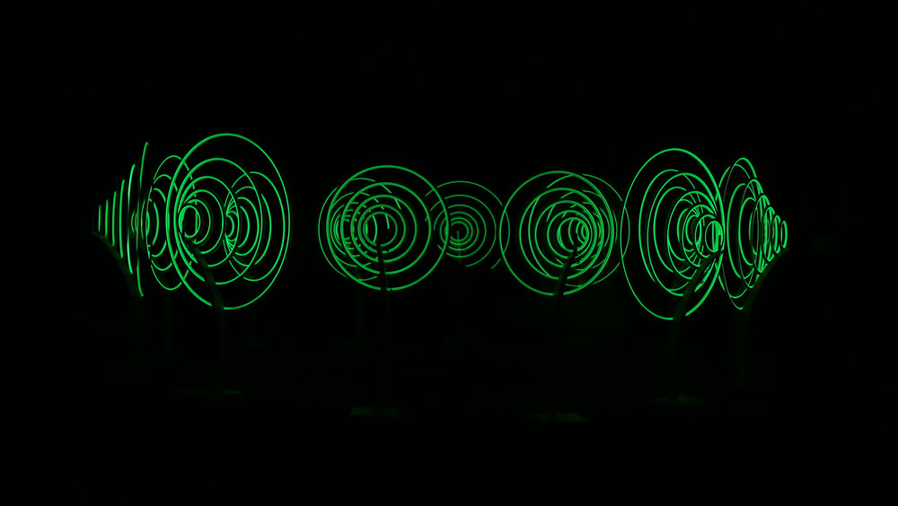 pulsing circles of light