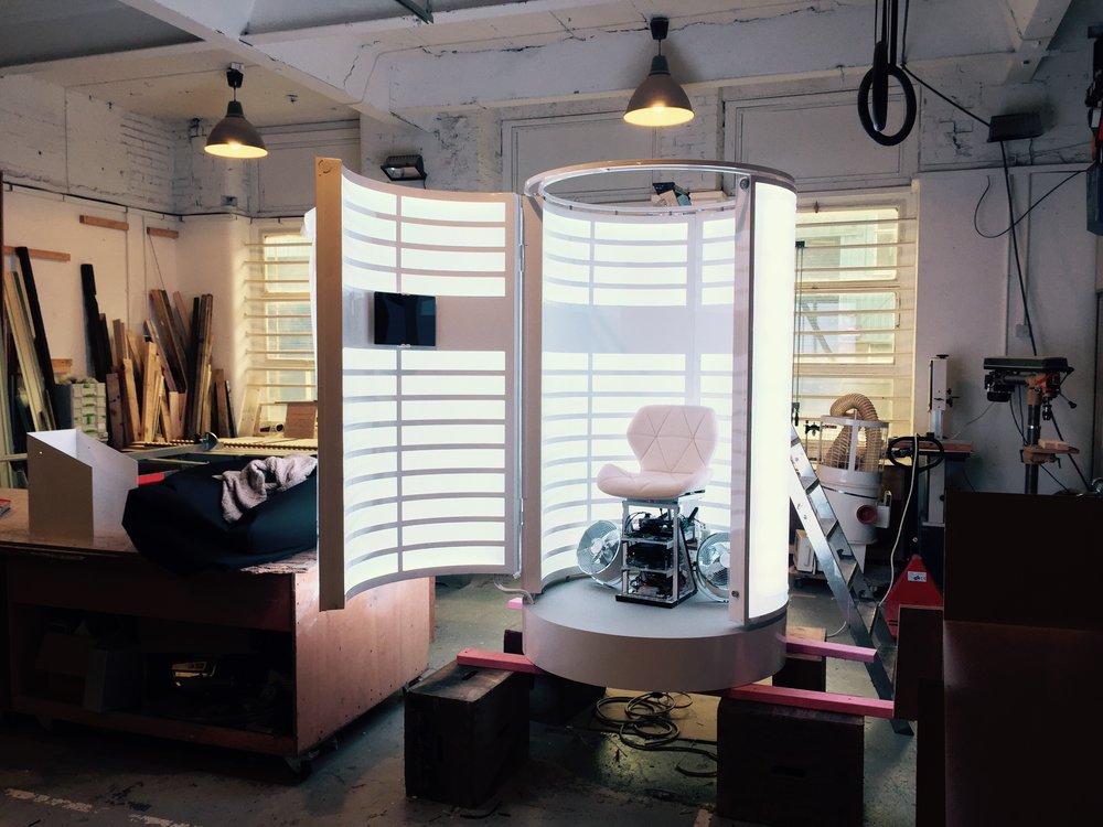 LED motion sensor booth