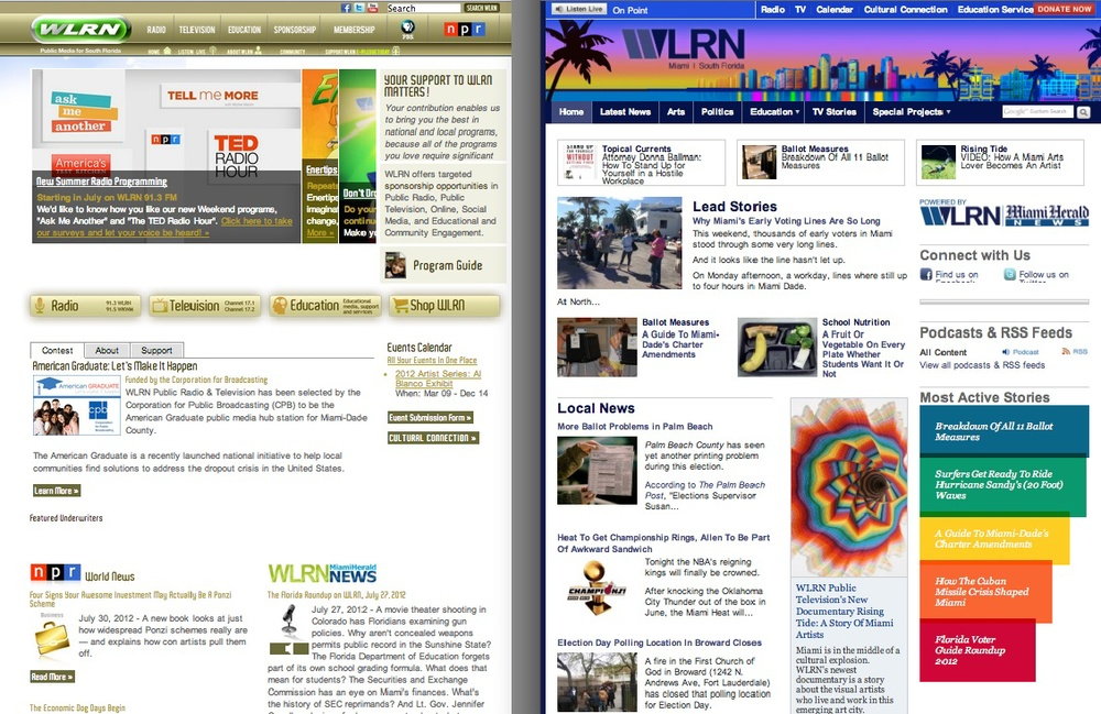 WLRN.org was a brochure site before the launch (left). Re-launching on Core Publisher (right) made us a truly multiplatform newsroom for the first time.