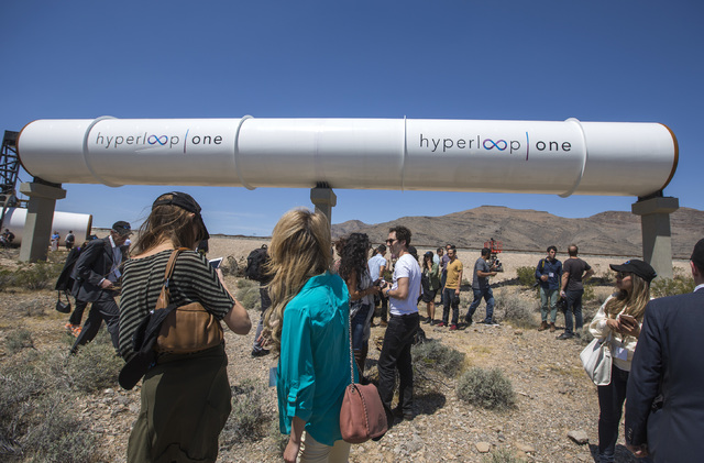 Media and invited guests view the Hyperloop One tubes under construction at Apex on Wednesday, May 11, 2016. Las Vegas Review Journal file photo