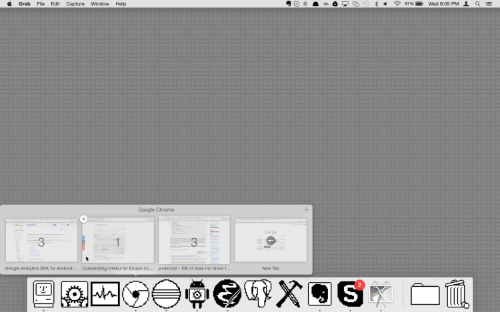 Note: the black and white look is an effect of my own retro theme and not Hyperdock itself.